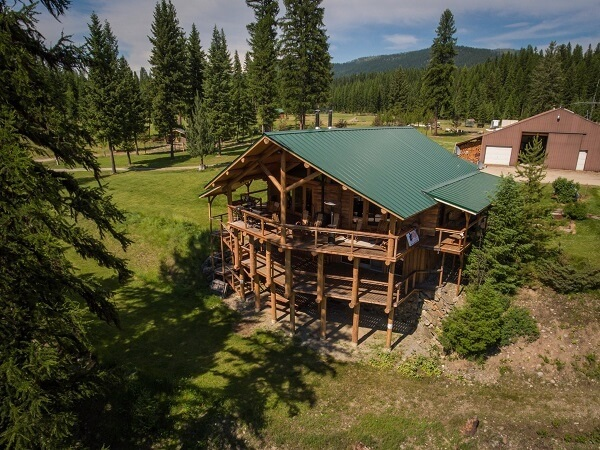 Aerial of the main lodge at the Camp Patriot Ranch